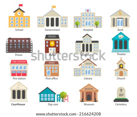 Color government buildings  icons set in flat design style, vector illustration. Includes school, hospital, police, fire station, day care, university etc.