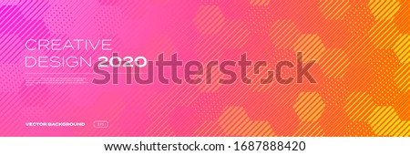 Color gradient background, geometric halftone pattern, vector abstract trendy graphic design. Honeycomb mosaic line pattern in orange and pink red halftone gradient background