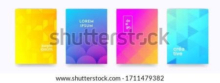 Color gradient background, geometric halftone pattern, vector abstract trendy line graphic design. Simple minimal elements in halftone color gradient, modern pattern backgrounds