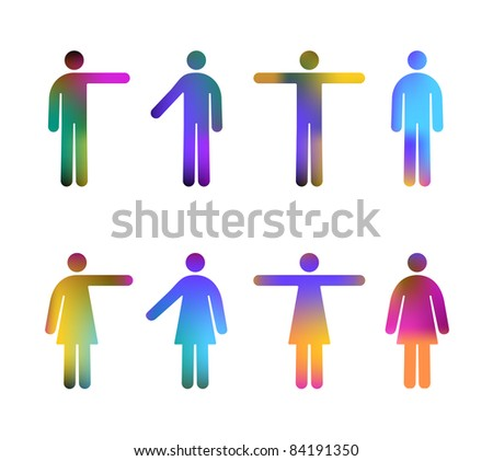 Color Gradient Vector Pictograms of Men and Women (jpeg file has clipping path)