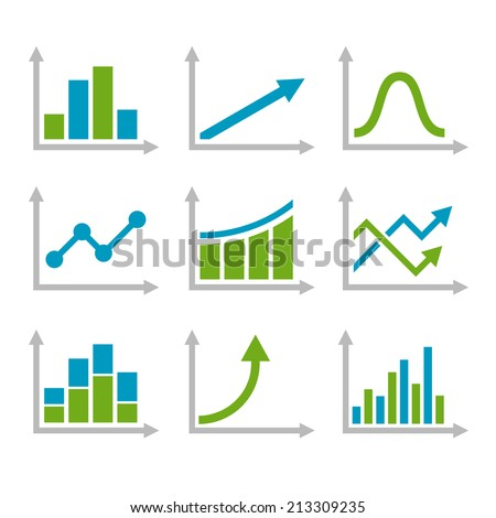 Color Graph Chart Icons Set. Vector illustration
