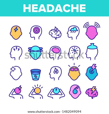 Color Headache Elements Icons Set Vector Thin Line. Migraine Brain, Tension And Cluster Headache Symptom Linear Pictograms. Head Medical Problem Illustrations