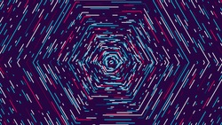 Color hexagonal cyber tunnel, Technological abstract vector background