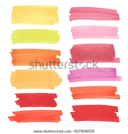 Color  highlight  stripes, banners drawn with japan markers. Stylish  highlight  elements for design. Vector marker stroke, spots bright color