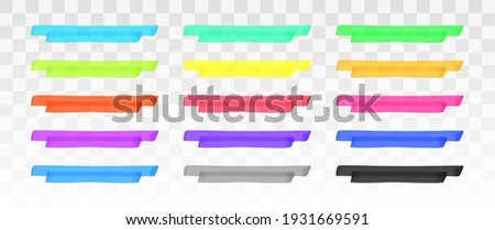 Color highlighter lines set isolated on transparent background. Red, yellow, pink, green, blue, purple, gray, black marker pen highlight underline strokes. Vector hand drawn graphic stylish element Foto stock ©