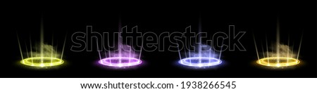 Color hologram portals set. Magic fantasy portal. Magic circle teleport podium with hologram effect. Vector colorful glow rays with sparks on black background.