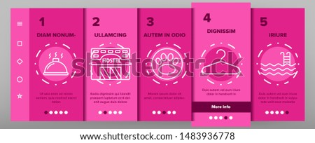 Color Hostel, Tourist Accommodation Vector Onboarding Mobile App Page Screen. Hostel Facilities And Services. Outline Cliparts. Hotel Reservation Pictograms. Hospitality Industry Illustration