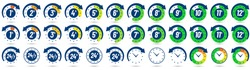 Color hours icon. Timer from 1 to 12 hours, time ago and next label dial with arrow. Clock, 24 7 and 24h available vector icons set. Illustration timer hour, clock watch time deadline