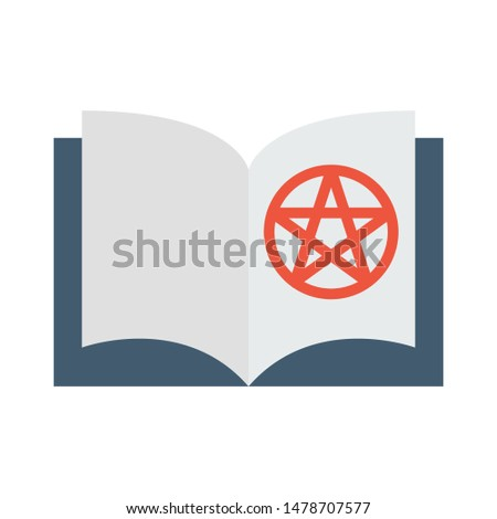 Color icon book with pentagram. Simple vector illustration with ability to change.