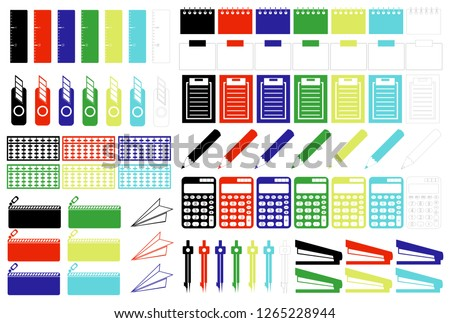 Color Icon Material Paperboard Note Pencil Boat Stapler Compass Slave Pencil Box Ruler Cutter, etc.