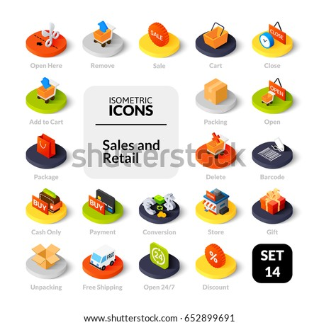 Color icons set in flat isometric illustration style, vector symbols - Sales and retail collection
