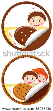 Color illustration for a chocolate chip cookie, can be used as a label (some free space left on purpose for text).