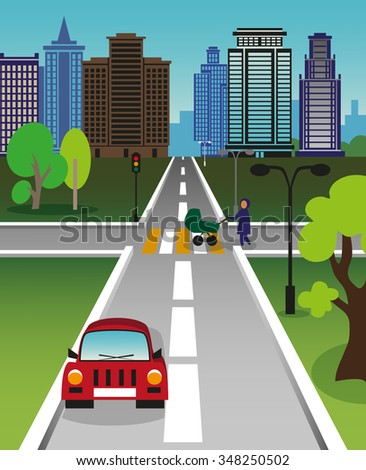 Color illustration of a big city street. The pedestrian with a pram crossing the road.