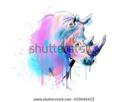 Color illustration of a rhinoceros. Vector.