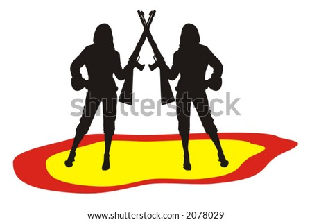 color illustration of babes with rifles - vector ilustration