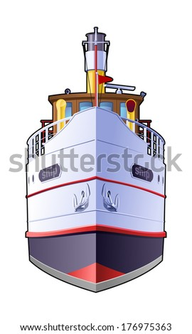 Color illustration of steamer. Front view. Simple gradients only - no gradient mesh.