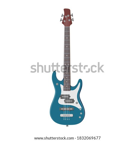 Color illustration of the bas-guitar. Musical instrument.  Stockfoto ©