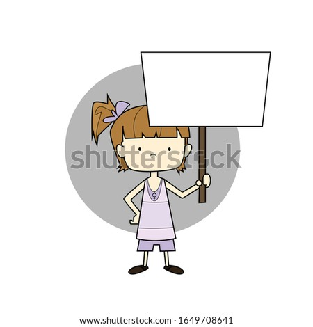 Color illustration of young woman protesting for women's rights and human rights with empty white sign in her hand in vector style and circle behind