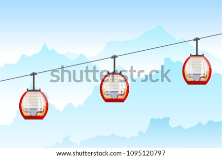 Color image of a cable car in the mountains. Three bright cabin cable car in Cartoon style on nature background. Vector illustration