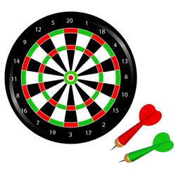 Color image of dartboard with  darts on white background. Sports equipment. Vector illustration.