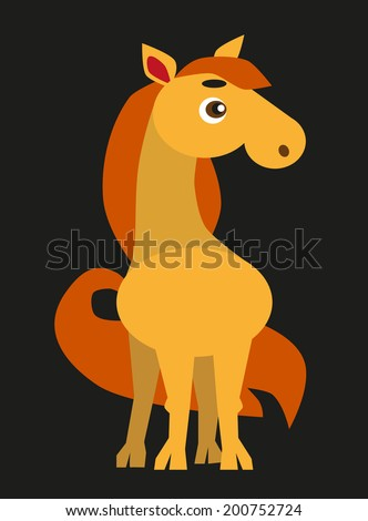 color image of funny cartoon animal horse