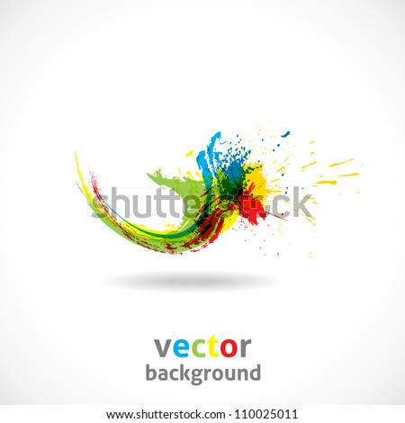 Color Ink Splash. Vector Grunge Background. Abstract wave.