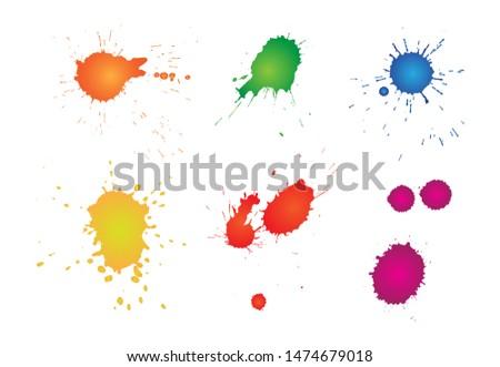 Color ink splatters. Ink blots set.