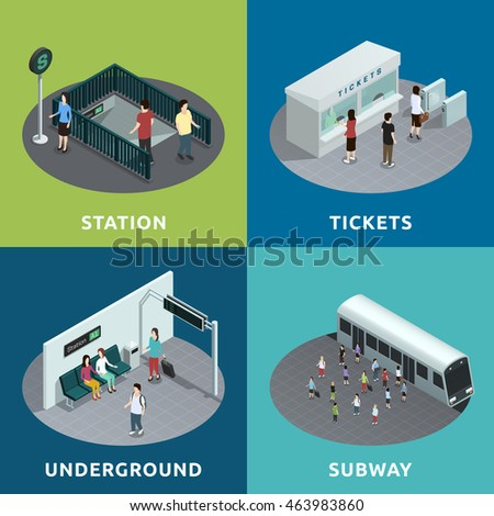 Shutterstock Color isometric design concept 2x2 depicting  roon of metro atation tickets underground subway vector illustration