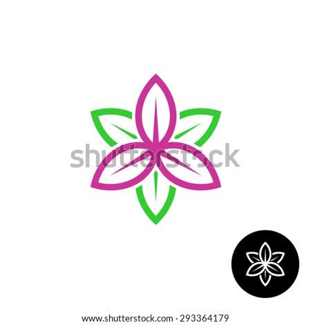 Color leaves flower shape linear style logo