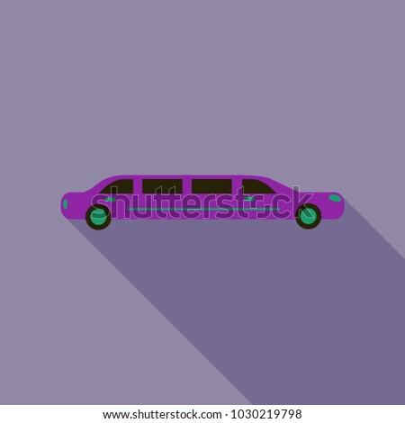 color limo. limousine. hearse. Flat vector illustration. Isolate. Luxary vehicle. Side view