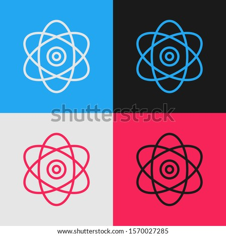Color line Atom icon isolated on color background. Symbol of science, education, nuclear physics, scientific research. Electrons and protons sign. Vintage style drawing. Vector Illustration