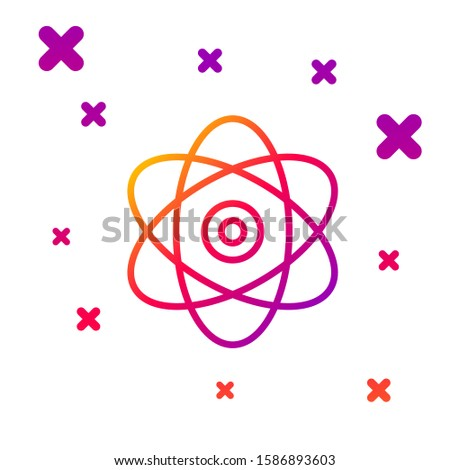 Color line Atom icon isolated on white background. Symbol of science, education, nuclear physics, scientific research. Electrons and protons sign. Gradient random dynamic shapes. Vector Illustration