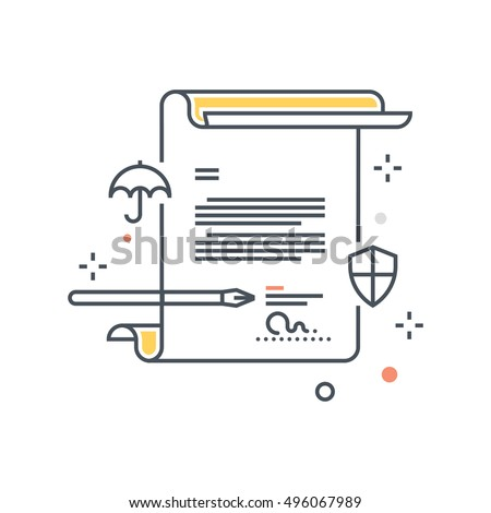 Color line, contract policy insurance illustration, icon, background and graphics. The illustration is colorful, flat, vector, pixel perfect, suitable for web and print. It is linear stokes and fills.