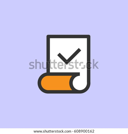Color line doc aprove icon on light blue background. Vector Illustration.