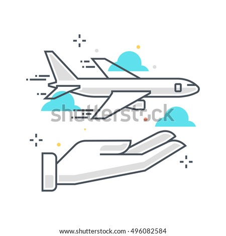 Color line, flight insurance concept illustration, icon, background and graphics. The illustration is colorful, flat, vector, pixel perfect, suitable for web and print. It is linear stokes and fills.