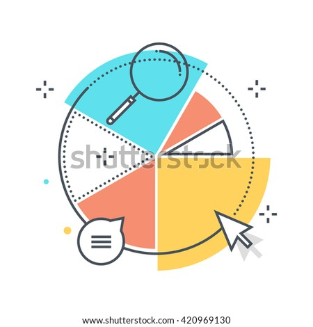 Color line, statistics, piechart concept illustration, icon, background and graphics. The illustration is colorful, flat, vector, pixel perfect, suitable for web and print. It is stokes and fills.