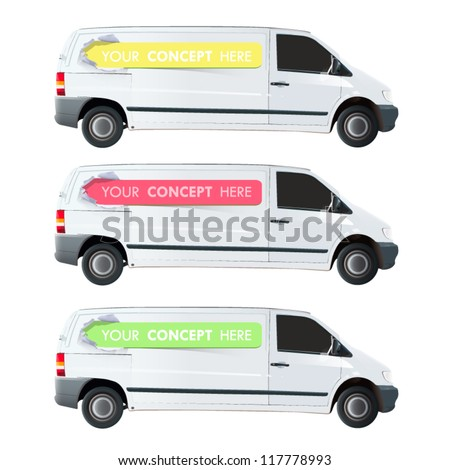 Color lines printed in a van isolated on white. Vector design.