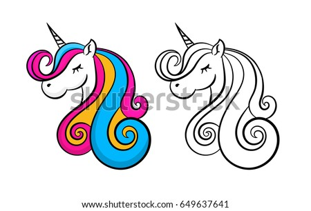 color lovely unicorn  outline