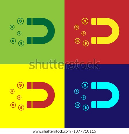 Color Magnet with money icon isolated on color backgrounds. Concept of attracting investments, money. Big business profit attraction and success. Vector Illustration