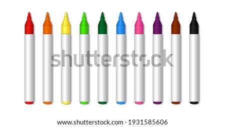 Color marker. Felt tip of marker. Pencil for highlight. Permanent palette of pens. Set of felt tips with green, red, yellow, blue and black colors. Crayons isolated on white background. Vector. Stock foto ©