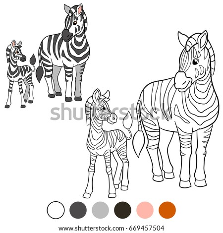 Stock Photo Color me: zebra. Mother zebra with her cute baby zebra.