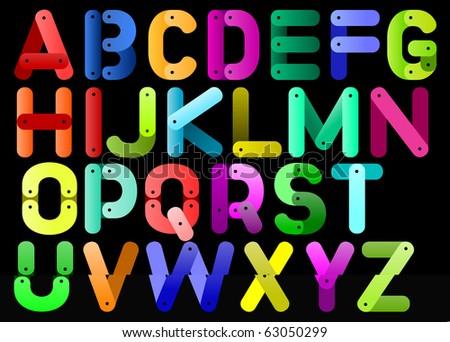 color meccano alphabet