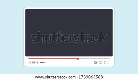 Color media player template. Mockup live broadcast window, player. Concept for online video content, blogging, streaming, digital technologies. Interface isolate. Vector illustration