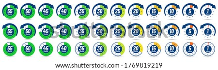 Color minutes icon. Timer, 1 minute ago and 5-55 minutes label dial with arrow. Set time vector icons set. Timer stopwatch, minute countdown measurement, vector illustration