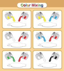 Color Mixing, Paint the colour. Mix colors educational game for kids.