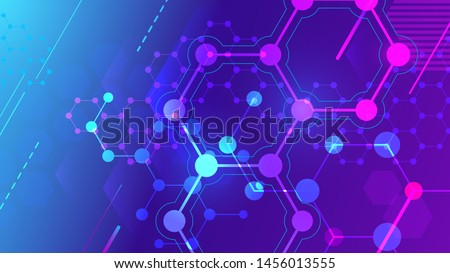 Color molecular structure. Hexagonal molecule grid, chemistry structures and science pharmaceutical research. Microscopic geometric cell, hexagon dna structure 3d vector background