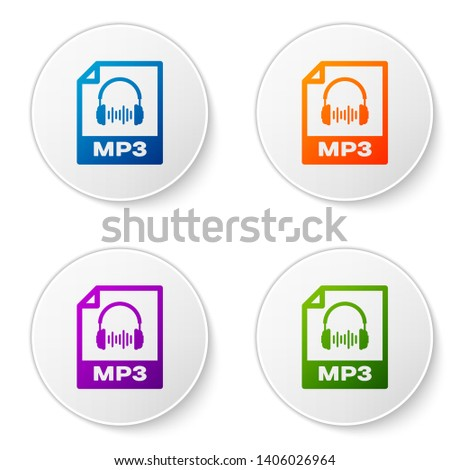 Color MP3 file document icon. Download mp3 button icon isolated on white background. Mp3 music format sign. MP3 file symbol. Set icons in circle buttons. Vector Illustration
