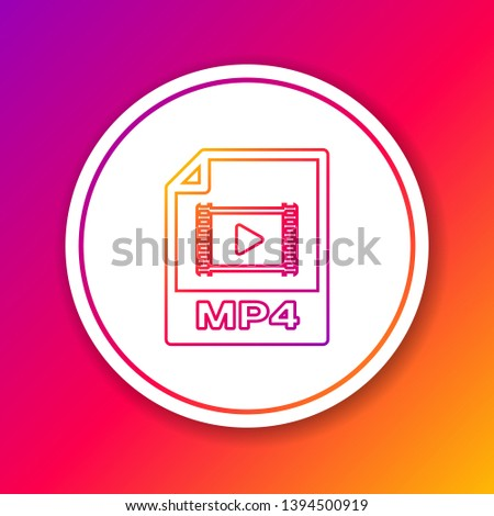 Color MP4 file document icon. Download mp4 button line icon isolated on color background. MP4 file symbol. Circle white button. Vector Illustration