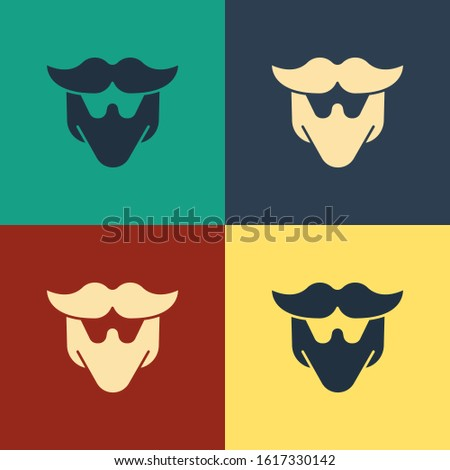 Color Mustache and beard icon isolated on color background. Barbershop symbol. Facial hair style. Vintage style drawing. Vector Illustration