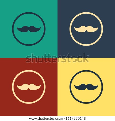Color Mustache icon isolated on color background. Barbershop symbol. Facial hair style. Vintage style drawing. Vector Illustration